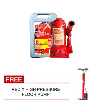 Harga Red x Bottle Jack 6Ton with Free Red X High Pressure Floor Pump
