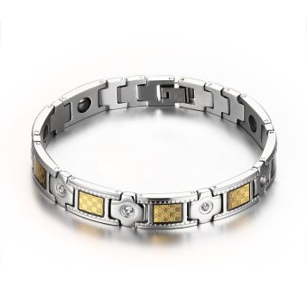 Popular in Europe and America with a magnetic micro diamond craft Men's Titanium Steel Bracelet Price Philippines