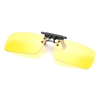 Harga Polarized Clip on Sunglasses clip on glasses square Polaroid Lens Men Women mirror clip Sun Glasses Night Vision Driving AL5TR-03 (Big Yellow)