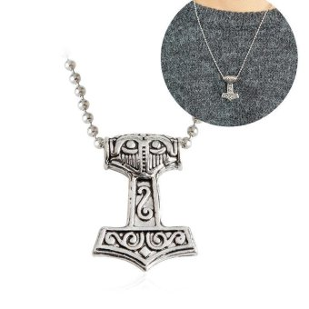 Harga Kuhong Mens Nordic Viking Mjolnir Pendant Leather Chain Myth Thor's Hammer Necklace - intl