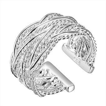 925 Sterling Silver Ring Crossed Net Web Weave Open Ring Finger Ring - intl Price Philippines