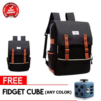 Harga WOWANG Unisex Leisure Lightweight Travel Laptop Backpack Men Oxford Cloth Business Backpack (Black) with free fidget cube (Any colors)
