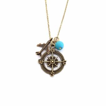 Harga Compass and Airplane Necklace, Bronze Necklace, Charm Necklace, Travel Necklace