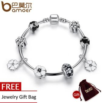 BAMOER 2016 New Simple Vintage Bracelets Silver Plated Pendant Bracelets with Black Flower Beads Girl Bracelet Jewelry PA3804 Price Philippines