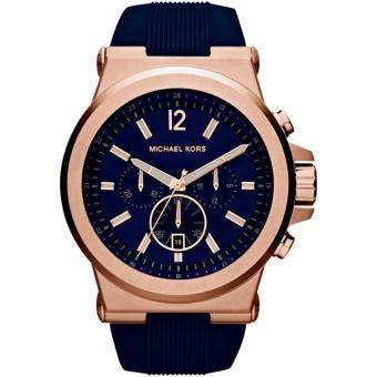 Harga Michael Kors Dylan Navy Dial Rose Gold-tone Navy Silicone Strap Men's Watch MK8295