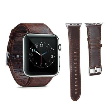 Harga Genuine Leather 42mm Replacement Band with Secure Metal Clasp Buckle for Apple Watch Sport Edition - intl