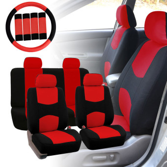 Car Seat Covers Red Black Full Set for Auto w/Steering Wheel/Belt Pad/Head Rest - intl Price Philippines