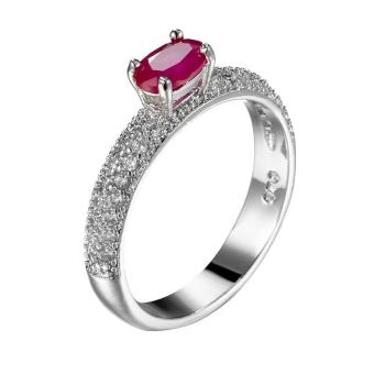 Harga EOZY Fashion Women Ruby Decorated Engagement Rings White Gold Plated Wedding Band (Red) - intl