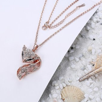 Lovely Full Crystal Fox Pendant Necklace - intl Price Philippines