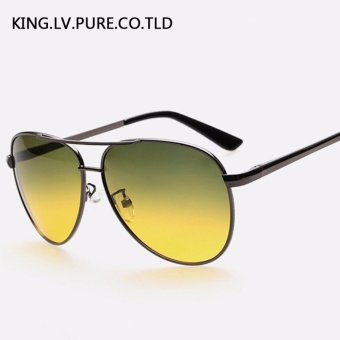 Harga Men's sunglasses day and night driving glasses Polarized sunglasses metal frame sun glasses for men vintage Polaroid lens brand