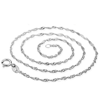 Harga Moonar Women 925 Sterling Silver Water Wave Chain Necklace