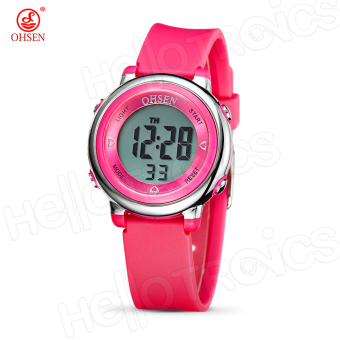Harga OHSEN 1605 Multifunction Water Resistant Fashionable Sports Watch (Pink)