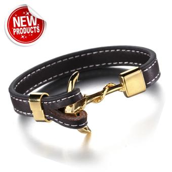 Genuine Dark Brown Leather Gold Plated Anchor Bracelet Price Philippines