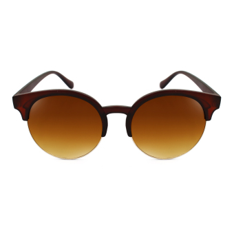 Harga Maldives 268 Kaira Retro Fashion Round Cat Eye Browline Frame Sunglasses (Gradient Brown/Matte Brown)