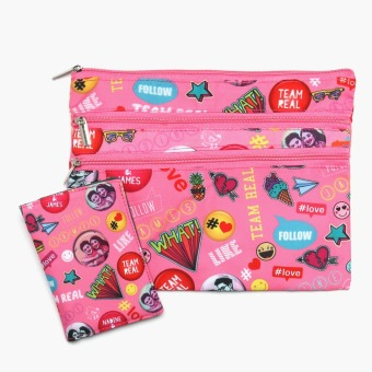 Harga Travel Basic Team Real Passport Case and Document Pouch Set (Pink Pins)
