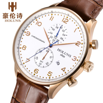 Holuns PT002 PORTUGUESE Series Men's Quartz Watch Leather Strap Business Waterproof Watch (Brown) - Intl Price Philippines