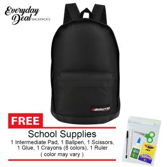 Harga Everyday Deal Merletto School Backpack (Black) with FREE School Supplies