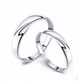 Harga Hequ 1 Pairs Men Women Solid Silver Lover Couple Rings Wedding Band His and Her Promise Rings - intl