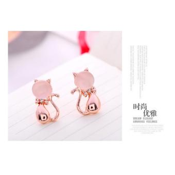 Fashion Cat Eye Stone Cute Lovely Cat Ear Stud Earring Beauty-Rose gold - intl Price Philippines
