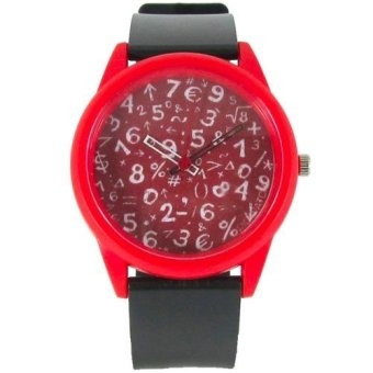 Pic Watch Math Formula Silicon Strap Watch (Black and Red) Price Philippines