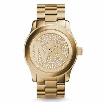 Harga Michael Kors Gold Tone Runway MK Logo Dial Crystal Oversized Watch MK 5706