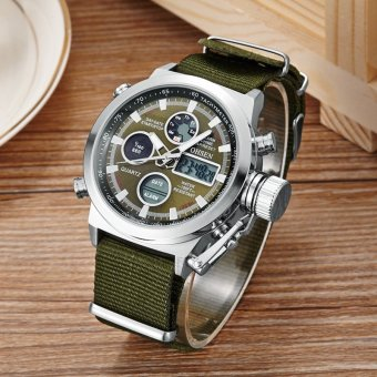 Harga New Arrival Ohsen Brand Fashion LCD Digital Quartz Mens Watch Rubber Band 30M Diver Big Dial Green Military Sport Wristwatches - intl