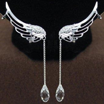 Pair ofWomen's Rhinestone Wings Ear Clips - Intl Price Philippines