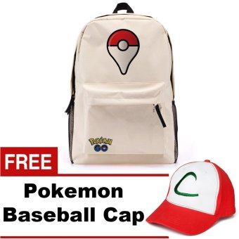 Harga Pokemon Go Plus Laptop Backpack With Hidden Back Pocket (Cream) w/ FREE Pokemon Go Baseball Cap