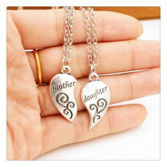 Harga Fashion English Letter Mother And Daughter Necklace Silver - intl
