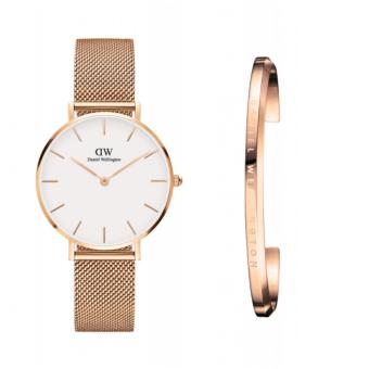 Daniel Wellington Classic Petite Melrose 32mm Rosegold White Face Watch and DW Cuff Rosegold Small Set Price Philippines
