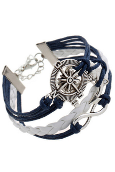 Buytra Charm Bracelet Anchor Faux Leather Silver Plated DIY Navy Price Philippines