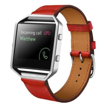 Luxury Leather Watch band Wrist strap For Fitbit Blaze Smart Watch RD Red - intl Price Philippines
