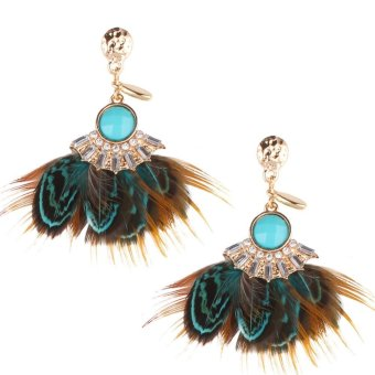 Fashion National Feather Earrings Stud Blue - intl Price Philippines