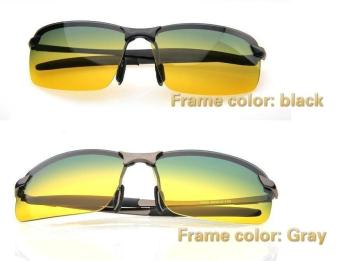 Unisex Day & Night View Vision Glasses Anti-glare Driving Polarized Sunglasses (Gray Frame) - intl Price Philippines