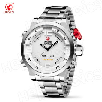 Harga OHSEN AD1608 Digital Watch Analog Sports Wrist Band Water Resist (Silver/White)