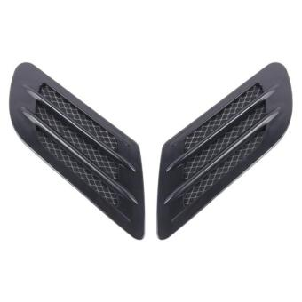2PCS Euro Style Plastic Decorative Air Flow Intake Turbo Bonnet Hood Side Vent Grille Cover With Self-adhesive Sticker(Black) - intl Price Philippines