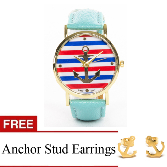 Anchor Faux Leather Watch with Free Stainless Steel Anchor Earrings Price Philippines
