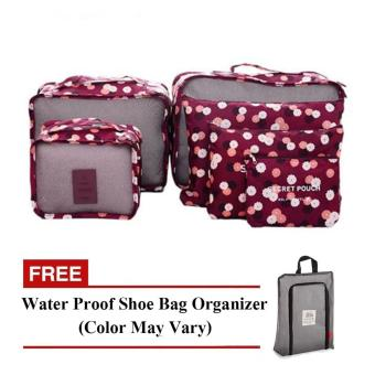 Harga Bags in Bag 6 in 1 (Maroon) with Free Waterproof Shoe Bag Organizer (Color May Vary)