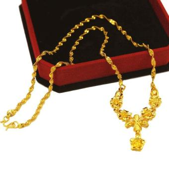 MoNo 24K Gold Plated Highend Flower Pendant Necklace (Gold) - intl Price Philippines