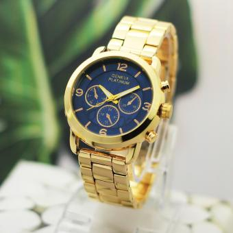 Harga Geneva Chloe Chrono Gold Metal Watch (Navy Blue)