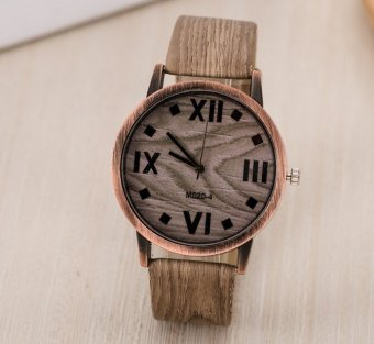 6 Colors Luxury Fashion Quartz Watches Mens Casual Wooden Color Leather Strap Watches Wood Wristwatch (Black) Price Philippines