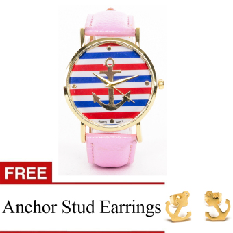Anchor Faux Leather Watch with Free Stainless Steel Anchor Earrings - Pink Price Philippines