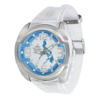 UniSilver TIME Makabayan Dakilang Bayan Men's Translucent White/Silver/Light Blue Analog Rubber Strap Watch KW689-2343 Price Philippines