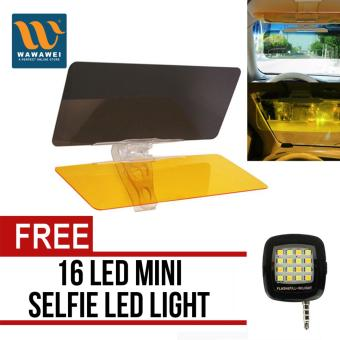 Car Anti-Glare Dazzling Goggle Day & Night Vision Driving Mirror Sun Visors with free 16 Led Mini Selfie Led Light (Color May Vary) Price Philippines