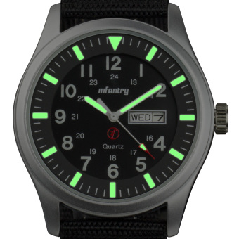 INFANTRY Mens Date Day Analog Wrist Watch Night Vision Military Sport Black Nylon Price Philippines