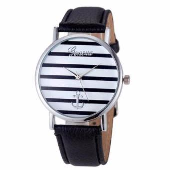 Geneva Anchor Stripes Dial Leather Watch- Black Price Philippines