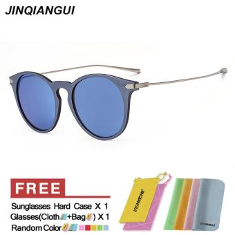 Harga JINQIANGUI Sunglasses Men Round Retro Blue Color Polaroid Lens Plastic Frame Driver Sunglasses Brand Design - intl