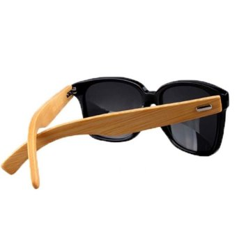 Harga Bamboo Sunglasses Wooden Wood Mens Womens Retro Vintage Sunglasses Bamboo Leg Sunglasses Black (Intl)