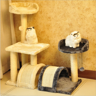 Harga Pet toys for cat climbing frame toy Scratching Pad Cat Scratch toy cat house pet-6 cream