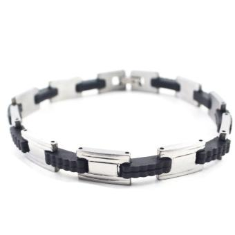 Piedras italian inpired stainless steel two tone Bracelet (Silver,Black) Price Philippines